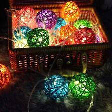 3M Holiday Wedding Party Rattan Balls String Fairy Lights RGB 20 LED Decor Lamp