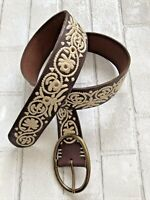 LUCKY BRAND leather belt with stitching detail Boho Western Hippie SZ Med 42 in.