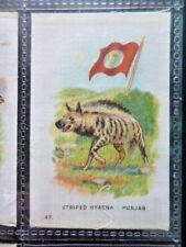 """I.T.C. WW1 ERA SILK """"ANIMAL WITH FLAG"""" STRIPED HYENA - PUNJAB NO.43"""