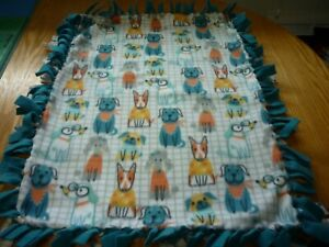 Handmade fleece tie blanket of cool dogs for a small pet