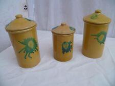 Vintage série de 3 pots à épices en céramique émaillée jaune