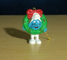 Smurfs 51906 Christmas Smurf Wreath Ornament Figurine Vintage PVC Figure Toy PT