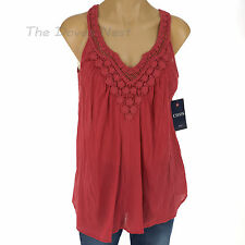 Chaps by Ralph Lauren Small Crochet Neck & Straps Pale Red Top Crinkle Fabric