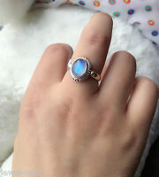 Rainbow Moonstone Ring 925 Solid Sterling Silver Handmade Ring (US-RBM-016)