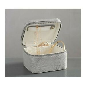 Pottery Barn McKenna Leather Small Travel Jewelry Case - Gray