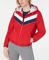 Tommy Hilfiger Womens Jacket Red Size Small S Varsity-Stripe Hooded $99- 102