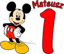 PERSONALISED MICKEY MOUSE BIRTHDAY T SHIRT TRANSFER LIGHT FABRICS ANY AGE/NAME
