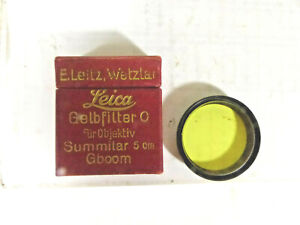 Leica Yellow #0 Black & White Filter for Summitar 5cm Lens Gboom -Clean in Box-