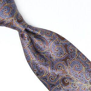 Stefano Ricci Mens Silk Necktie Brown Blue Gold Red Paisley Luxury Collection