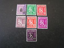 Finland, Scott # 250+275+291-295(5), Total 7 1946-50 Lion Type Issue Used