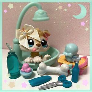 Authentic Littlest Pet Shop Husky Puppy #1013 Blonde w/ Bathroom/Shower Lot✨
