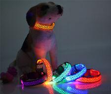 Fashion Leopard Pet Cat Dogs LED Light Flashing Collar Night Safety Neck Collars