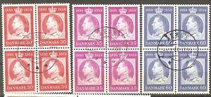 Denmark: full set 3 used stamps in block of 4, King Frederik IX, 1959, Mi#371-3