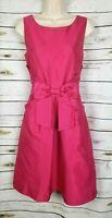 Kate Spade Hot Pink Bow Dress Fit & Flare Silk Blend 8