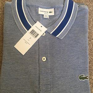 Lacoste Polo Shirt BNWT size XXL (FR 7) Grey Blue Slim Fit PH4251 RRP£100
