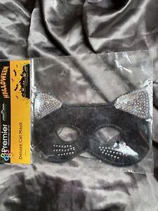 Halloween Deluxe Cat Sequin/Diamantés Detail.Soft Fancy Dress Mask Adult- 1092