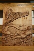 WOOD carving  ANGEL and MAN for wall panel, decoration and best wood ART, GIFT