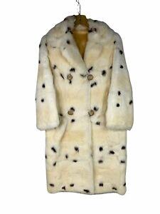 Rabbit Fur S Long Coat Ivory Color Spotted Black Small Cruella Dalmatian Look