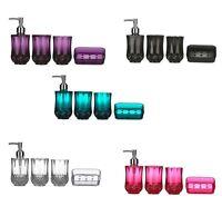 Cristallo Bathroom Accessories Set 4pcs Plastic Sink Utilities Set In 5 Colours