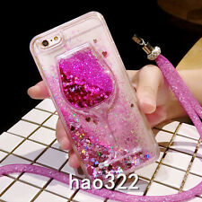 Dynamic Liquid Glitter Quicksand Soft TPU Back phone Case Cover & neck strap Y1