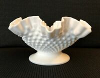 "Vintage Fenton Milk Glass White Hobnail 10 1/2"" Footed Ruffled/DC Bowl #3624"