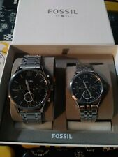 New Fossil Couple Set His & Her Silver Stainless Steel Watch Fenmore BQ2469SET