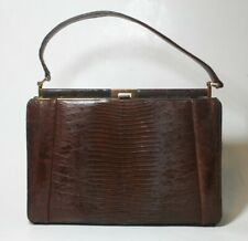 VINTAGE ESCORT BAG GENUINE LIZARD BROWN STRUCTURED FRAME HANDBAG SATCHEL VTG