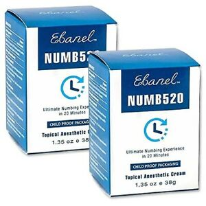 (38g x 2 BOX) EBANEL Topical Anesthetic Cream NUMB520 Pain Relief Ointment Gel