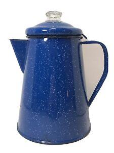 VIntage Blue Speckle Enamel 12 Cup Stovetop Coffee Maker Pot Camping Kettle M1