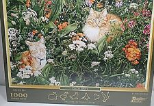 """Past Time Puzzle Color Spots - Sueellen Ross 1000 Pieces Cats in Garden 20""""x28"""""""