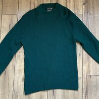 Vintage JC Penny Men's Green Mock Neck Virgin Acrylic Sweater Size Medium