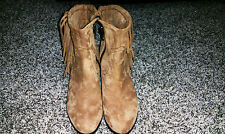 Sam Edelman Women's Louie Fringe-Trimmed Ankle Boot - SZ 9- Brown