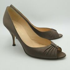 LK Bennett Ladies Shoes Size 5 38 Brown Mink Champagne Peep Toe Stiletto