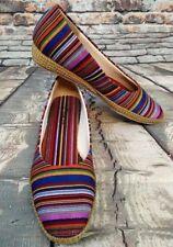 Beacon Women's Phoenix Multi Stripe Guatemalen Canvas Slip-on Shoes Size 7 1/2N