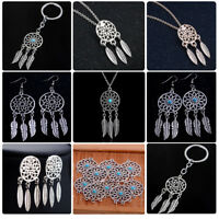Dream Catcher Long Chain Necklace Women Earrings Feather Charm Pendant Jewelry