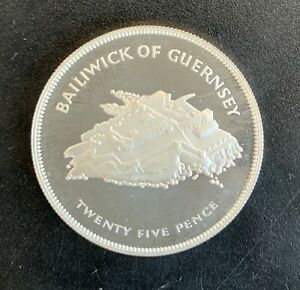 Guernsey - Silver 25 Pence Coin - 'Silver Jubilee' - 1977 - Proof