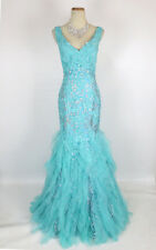 NWT Mermaid Turquoise Size 8 Prom Formal Long Gown $600 Mermaid Dress Lace Tulle