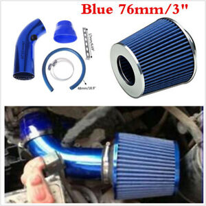 "76mm/3"" Car Truck Racing Blue Cold Air INtake Filter+ Pipe+ Filter+ Clamp Kits"