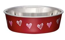 Loving Pets BELLA BOWL Stainless Steel X-SMALL/SMALL Dog Feeder Bowl Heart Red