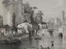 GRAVURE XIX° VUE PAYSAGE CHÂTEAU MÉDIÉVAL DE CLISSON NANTES BRETAGNE LOIRE 1840