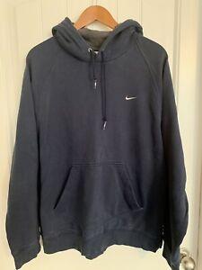 Vintage Nike Hoodie Mens Large Navy Blue Swoosh Check Travis Scott Sweatshirt