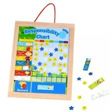 Magnetic Responsibility Chore Chart - Wooden Reward Chart Goals Manners *NEW*