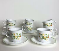 Vintage Lot of 13 Corelle by Corning Strawberry Sundae 8 Coffee Cups & 5 Saucers