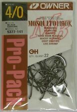 OWNER MOSQUITO HOOK BASS FISHING BLACK CHROME FINE WIRE #5377-141 SZ 4/0 QTY 22
