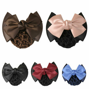 Women Hair Accessories Double Bowknot Hair Net Flight Attendant Satin Hair Clip