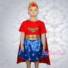 Wonder Woman Superhero Fancy Set Costume Halloween Party Girl Size 4-5 #029