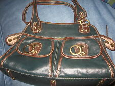 WOMENS DARK GREEN LEATHER RAFE NEW YORK HANDBAG PURSE
