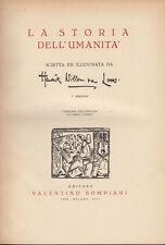 VAN LOON LA STORIA DELL'UMANITÀ 1939 LIBRO BOMPIANI