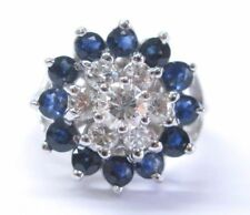 Fine Gem Sapphire Diamond White Gold Cluster Jewelry Ring 1.87Ct