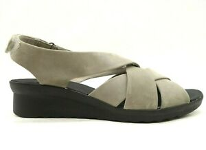 Clarks Cloudsteppers Taupe Adjustable Slingback Wedge Sandals Shoes Women's 9 M